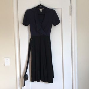 Two-toned Navy and Black DVF Dress